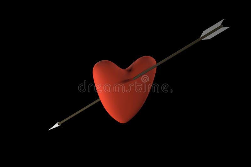 与箭头3D翻译的心脏 皇族释放例证