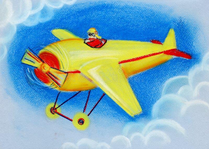 与红色和黑条纹减速火箭的玩具飞机的黄色在天空蔚蓝 干燥柔和的淡色彩的手拉的例证 皇族释放例证