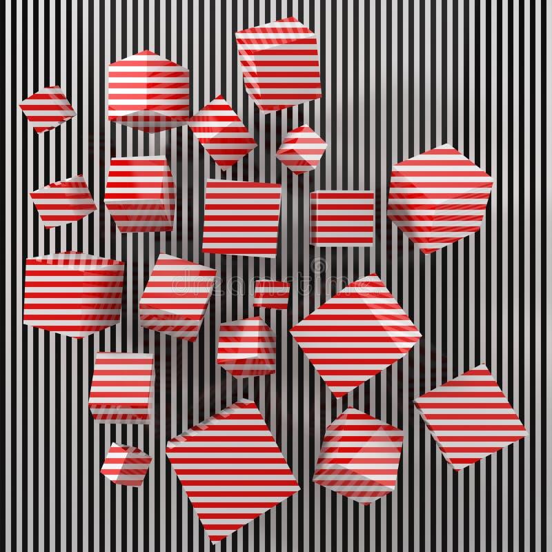 与红色被绘的立方体的现代美术概念 3d例证 库存例证