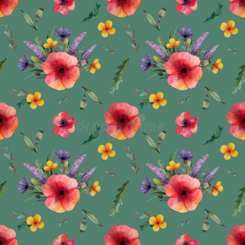 与红色鸦片和淡紫色矢车菊花黄色花和草本的无缝的样式在绿色背景 库存例证