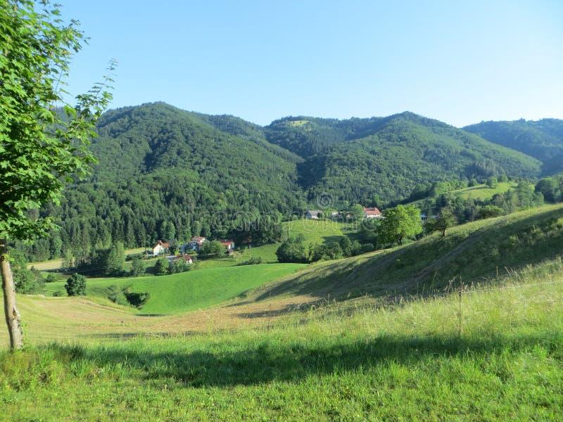 与绿松石天空蔚蓝、绿色山和葡萄园的美丽全景视图 库存图片