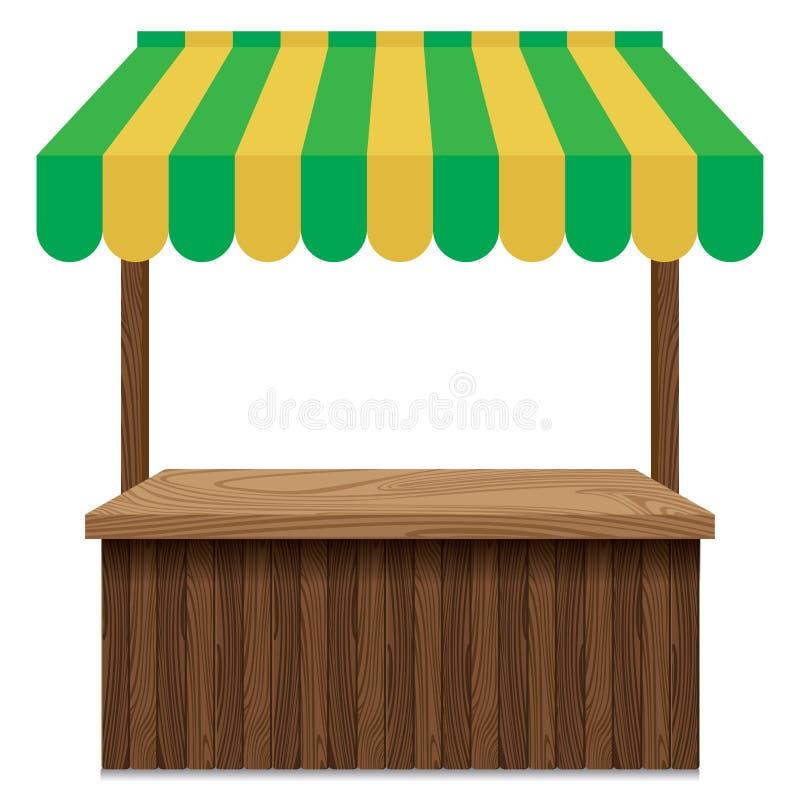 与绿色和黄色遮篷的木市场摊位 向量例证