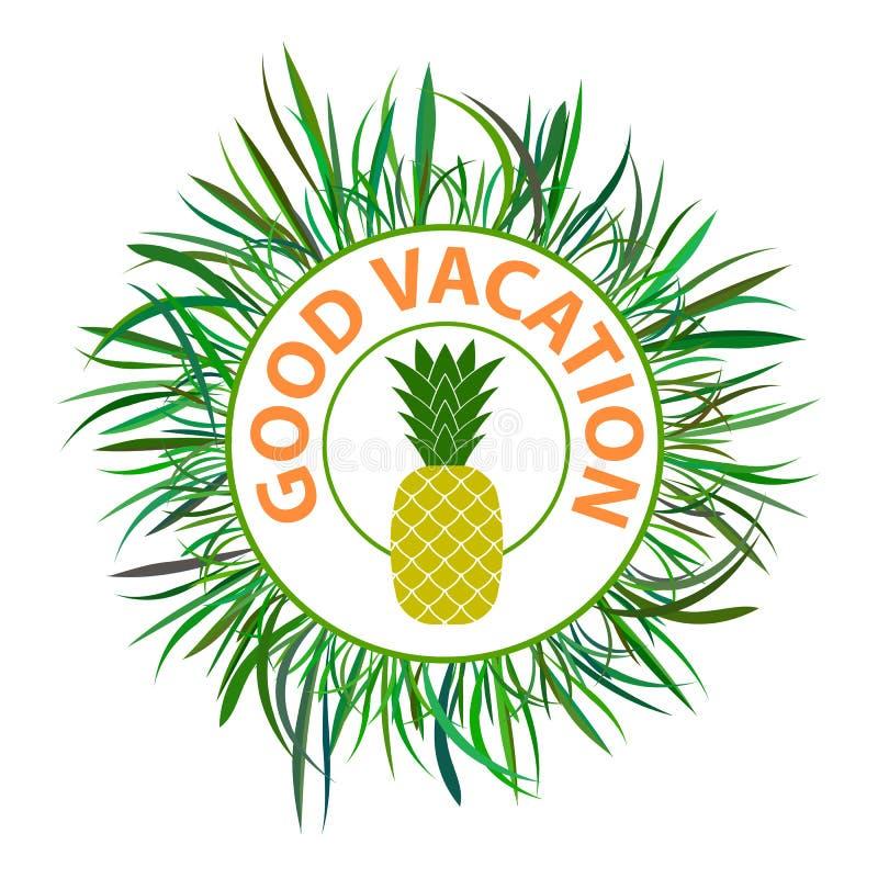 与绿色新鲜的草框架和菠萝的红色好假期文本 假期印刷术邮票 皇族释放例证
