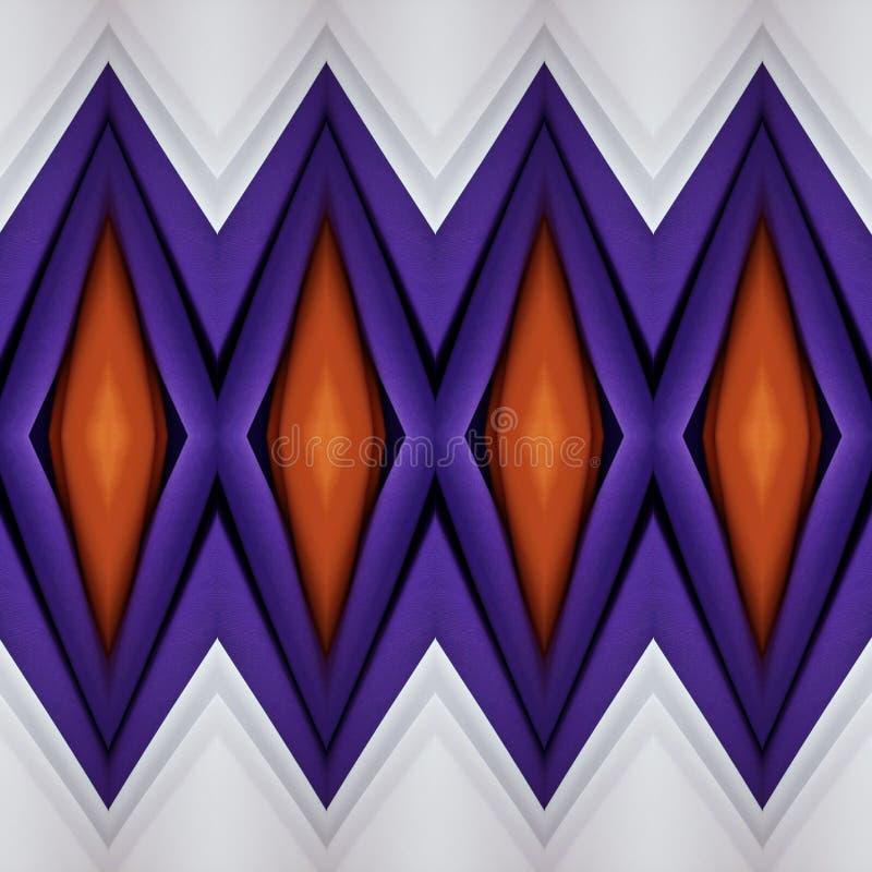 与织品裁减的抽象设计在桔子、白色和紫色,背景和纹理的 向量例证