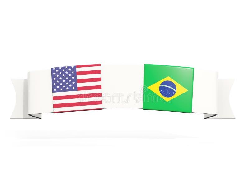 与美国和巴西的两面方形的旗子的横幅 库存例证