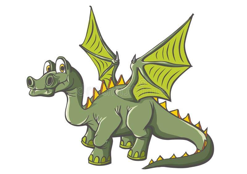 与翼的意想不到的恐龙 长的脖子,长尾巴 宽翼 皇族释放例证