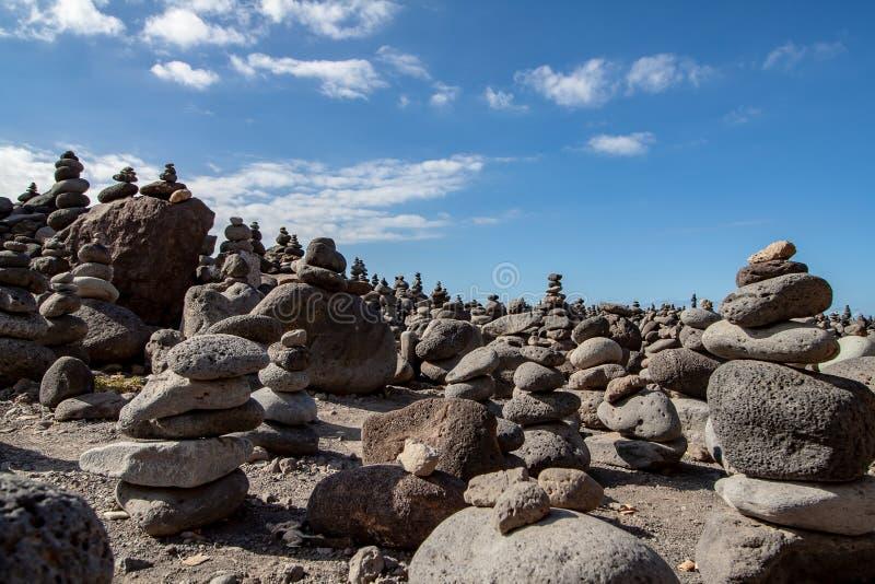 与石头的有趣的艺术视图在特内里费岛 库存图片