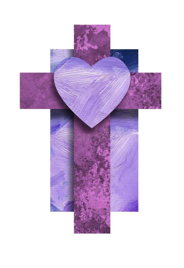 与爱心脏的图表基督徒十字架 皇族释放例证