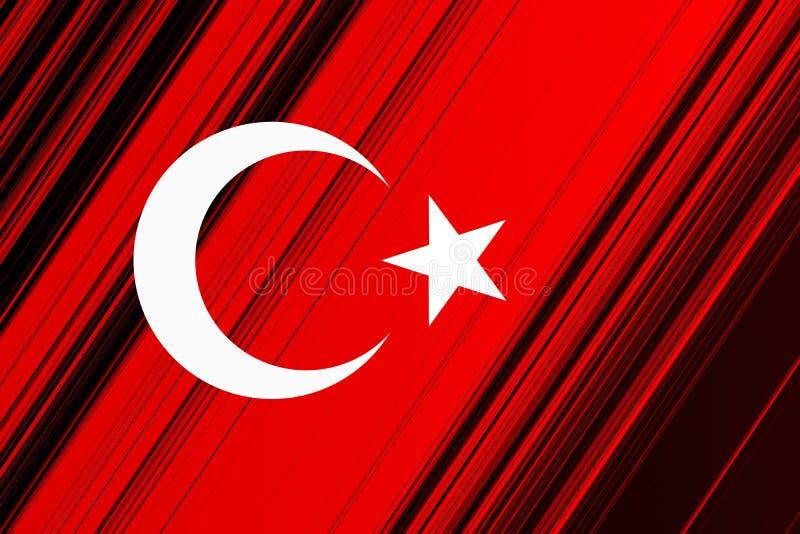 与白色星和月亮的土耳其国旗在红色背景 库存照片
