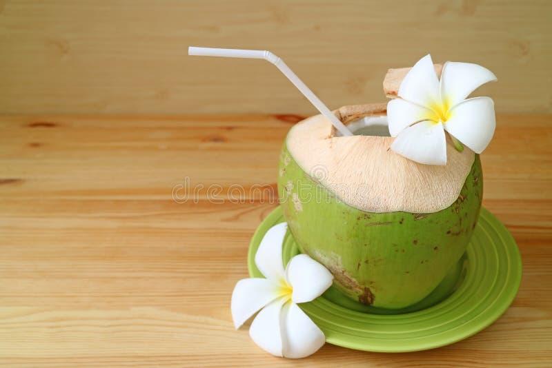 与白色秸杆和在绿色板材服务的羽毛花的新鲜的年轻椰子准备好喝 库存图片