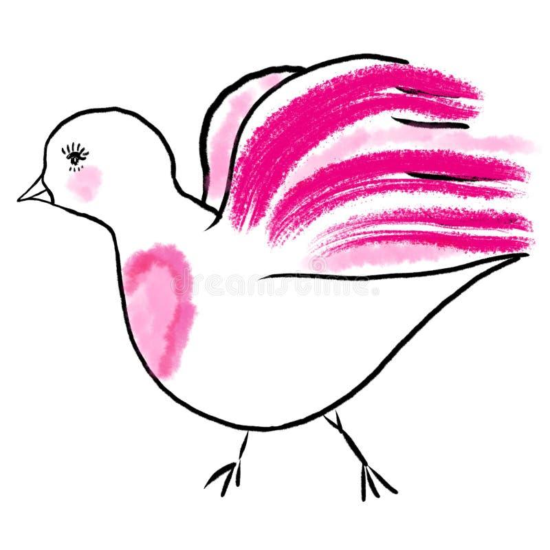 与紫红色的翼、尾巴和桃红色羽毛,心脏的白色欢乐鸟 向量例证