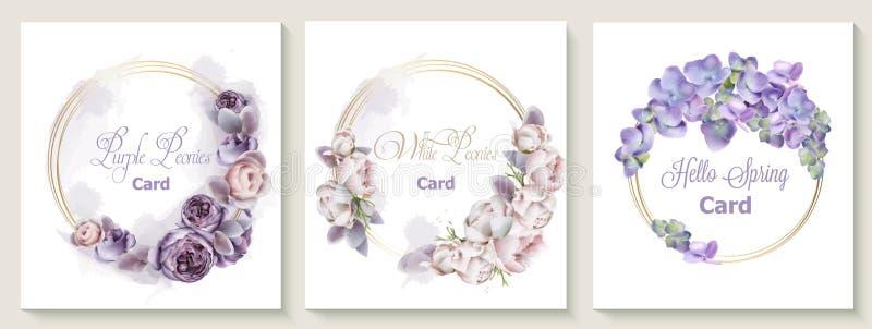 与紫色牡丹花花传染媒介水彩的婚姻的请帖卡集 保存仪式的日期植物学设计, 库存例证