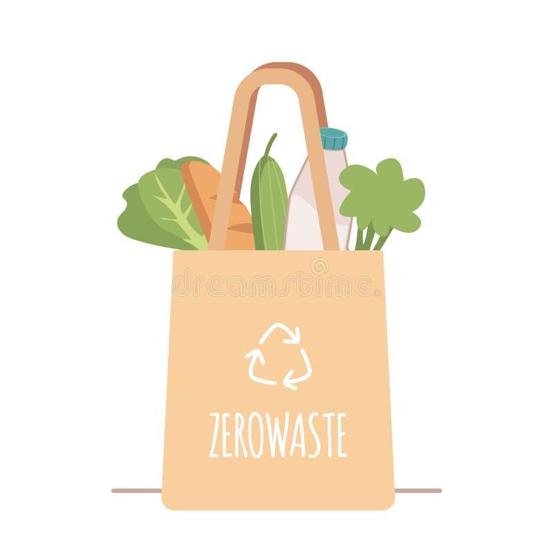 与菜和产品的购物的可再用的杂货布料袋子没有包装在一个平的样式 库存例证