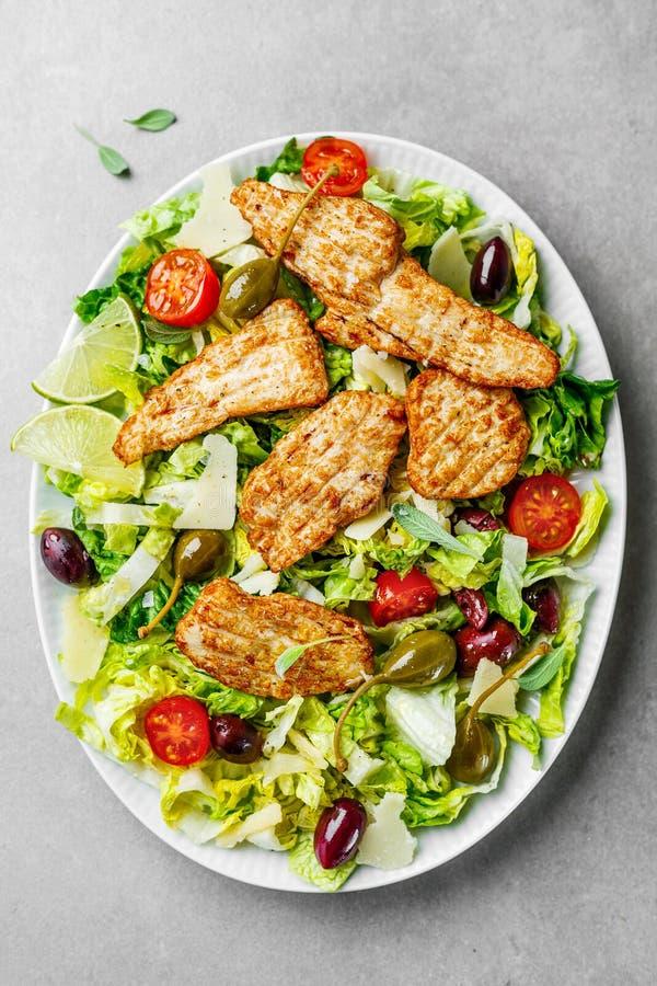 与菜和橄榄的鸡肉沙拉 库存图片