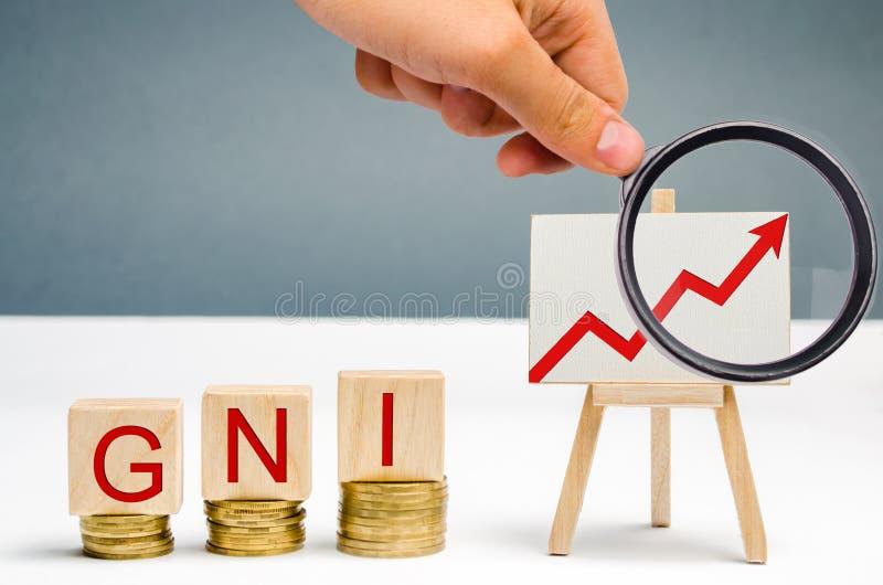 与词Gni和箭头的木块 总国民收入是国家的国民生产总值和网的总和 免版税库存照片