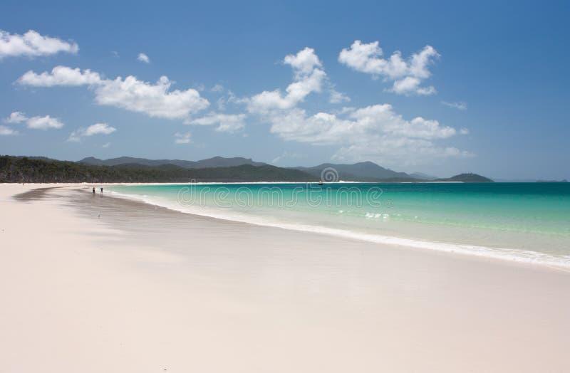 与走在Whitsundays的距离的人的怀特黑文海滩在澳大利亚 免版税库存照片