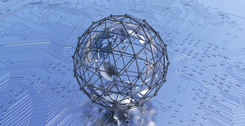 与连接网络的地球地球 董事会电路打印了 库存图片