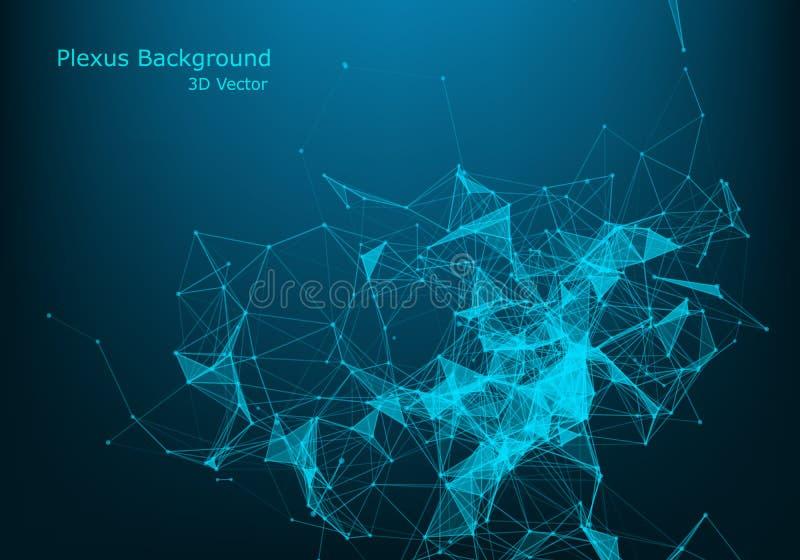 与连接的小点和线的抽象多角形低空间多黑暗的背景 连接结构 皇族释放例证