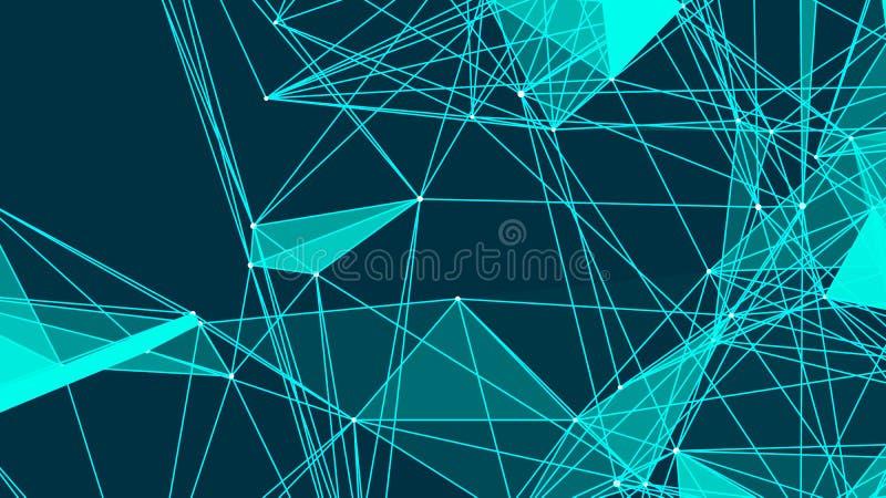 与连接的抽象三角在空间 与连接的小点和线的背景 也corel凹道例证向量 库存例证