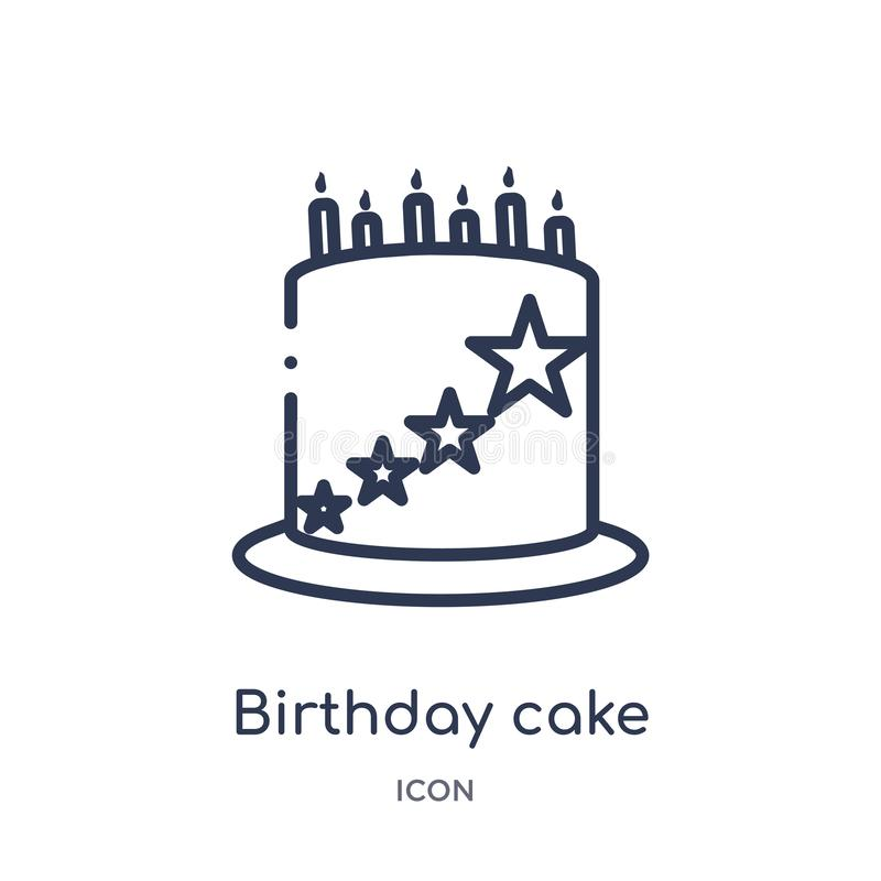 与蜡烛象的线性生日蛋糕从食物概述汇集 稀薄的线与在白色隔绝的蜡烛象的生日蛋糕 皇族释放例证