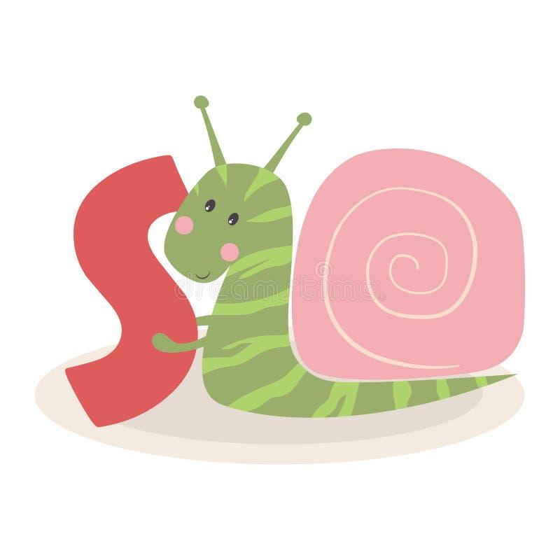 与蜗牛的逗人喜爱的动物字母表 库存例证