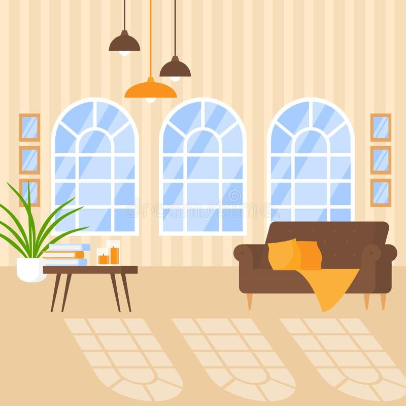 与舒适家具的豪华公寓内部 现代房子的,有减速火箭的窗口的平的客厅家庭设计 皇族释放例证