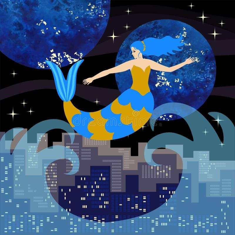 与蓝色摇摆在海波浪的头发和蓝色和金黄标度的一个美丽的美人鱼反对一个大城市a的背景 库存例证