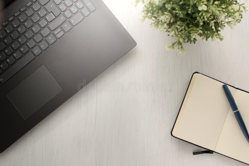 与膝上型计算机的平的被放置的台式、植物、笔和笔记本或者日志 免版税库存照片