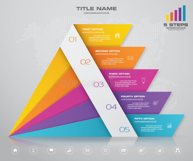 与自由空间的5步金字塔在每个水平上的文本的 infographics、介绍或者广告 库存例证