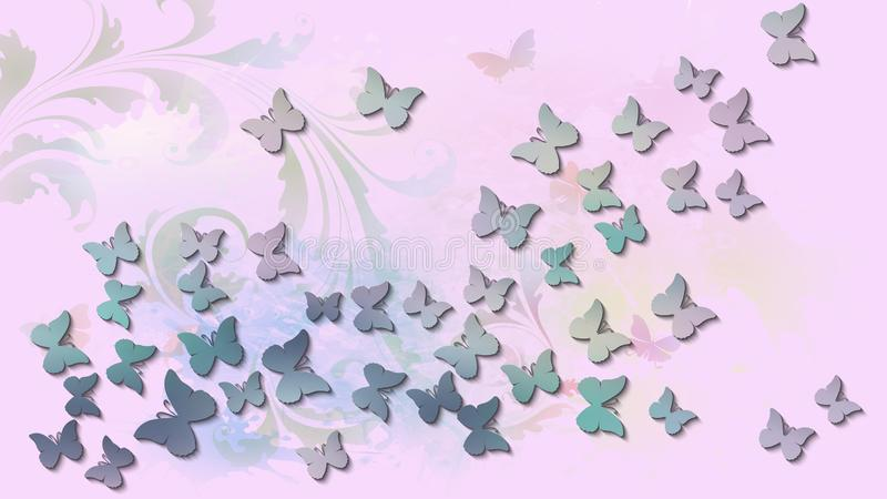 与色的飞行的蝴蝶的抽象背景 皇族释放例证