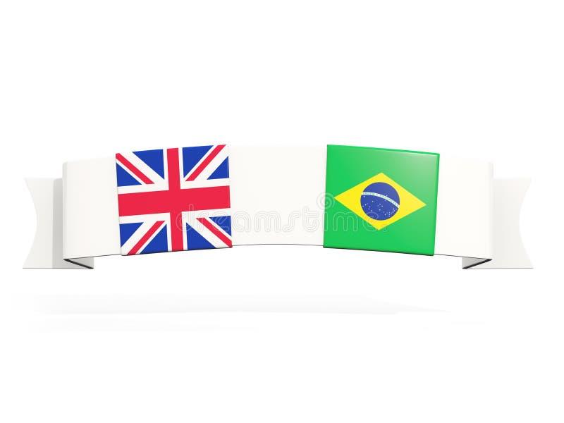 与英国和巴西的两面方形的旗子的横幅 库存例证