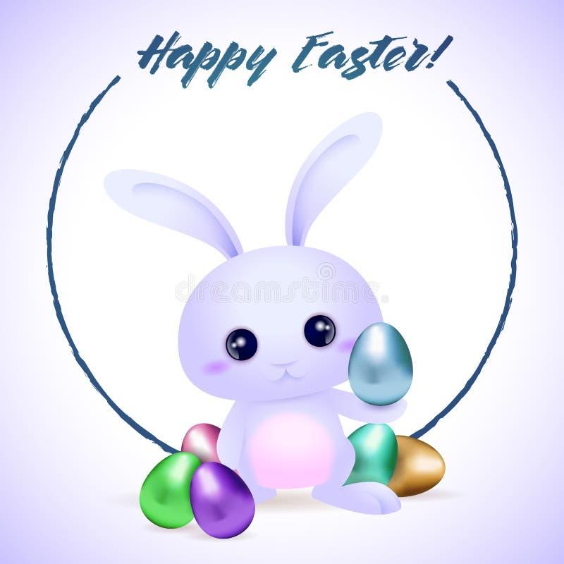 与蛋复活节卡片的复活节rubbit 向量例证