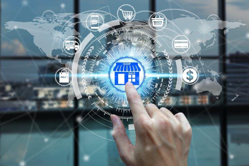 与购物的网上象技术在网络连接,技术E-coooerce互联网概念的手指接触 库存图片