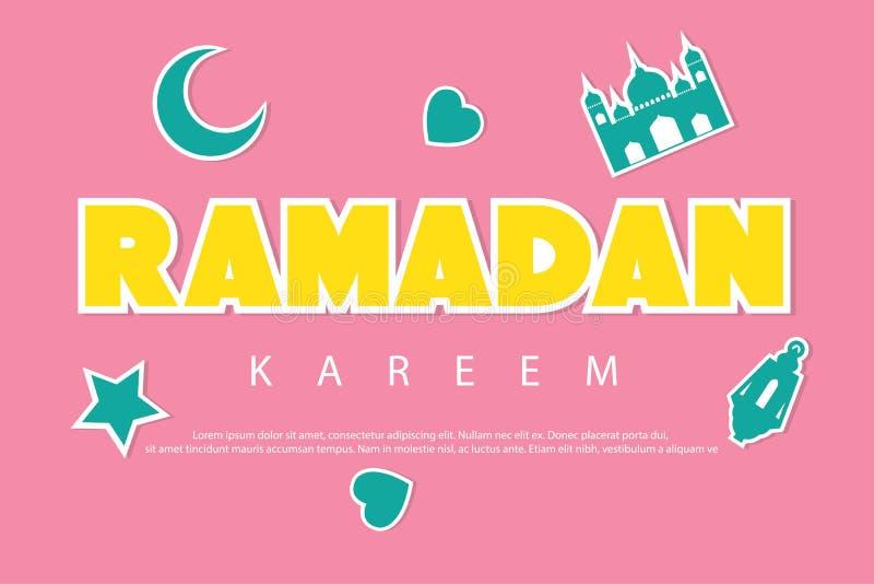 与贴纸的斋月kareem招呼的背景 新月形月亮、清真寺、星、灯笼和爱 库存例证