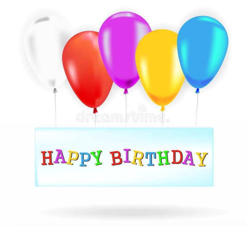与颜色气球的生日快乐横幅 皇族释放例证