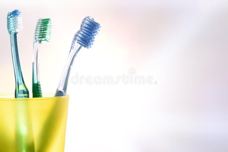 与黄色塑料杯子的每日牙齿清洁有牙刷细节的 图库摄影