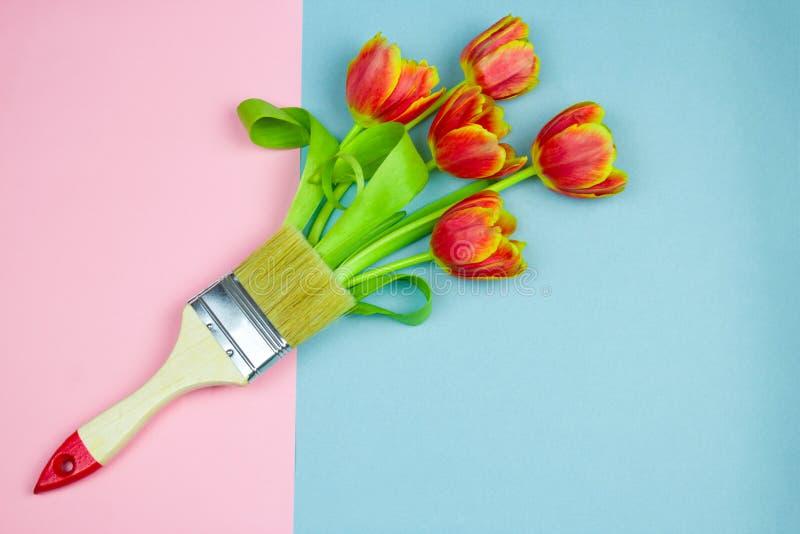 与郁金香花束的平的被放置的画笔在粉红彩笔和蓝色背景,刷子春天的油漆设计的 免版税图库摄影