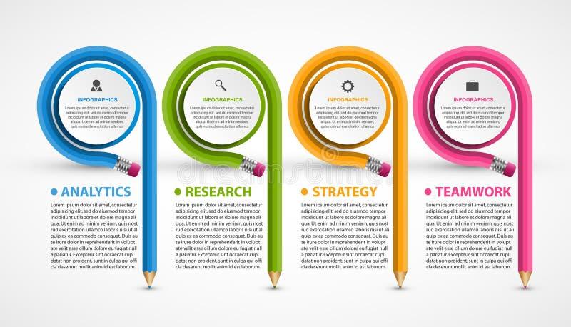 与铅笔的Infographics模板 能为教育或企业介绍,信息横幅使用 向量例证
