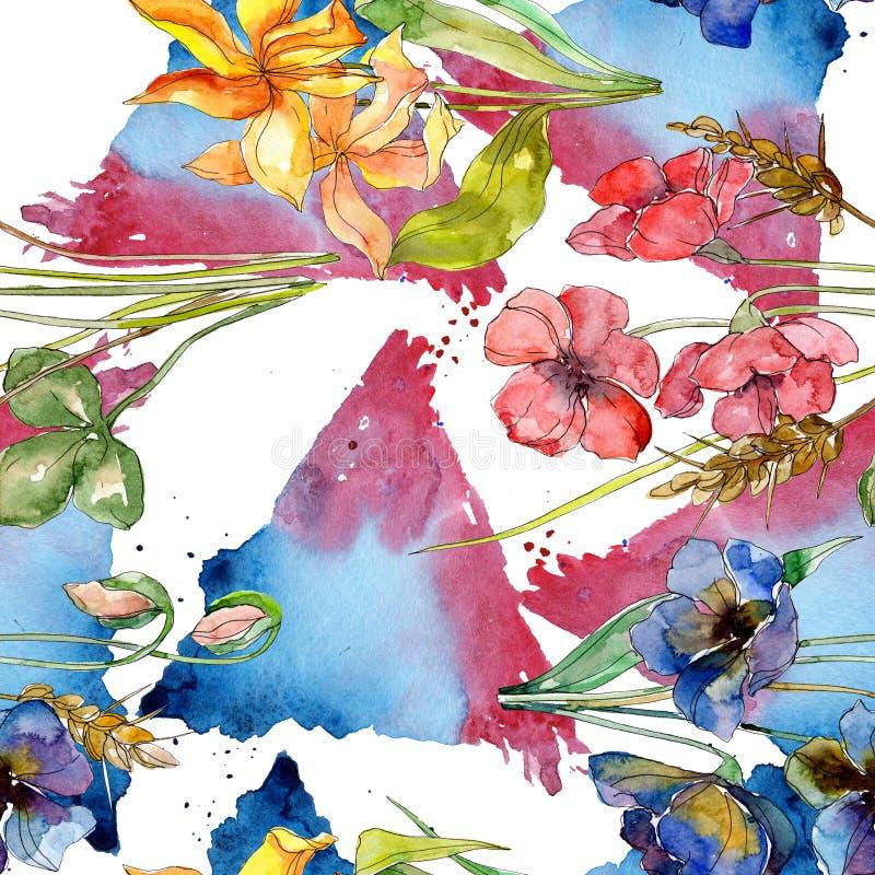 与野花植物的花的豪华时尚印刷品 水彩例证集合 无缝的背景模式 库存例证