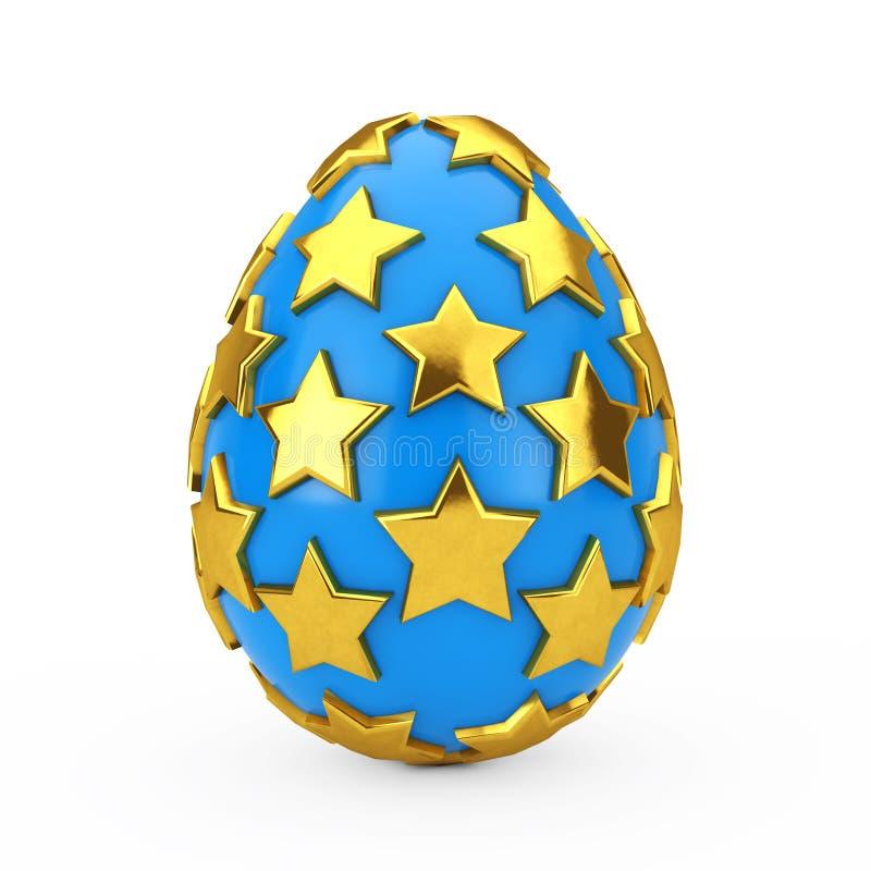 与金黄星的蓝色复活节彩蛋 3d翻译 向量例证
