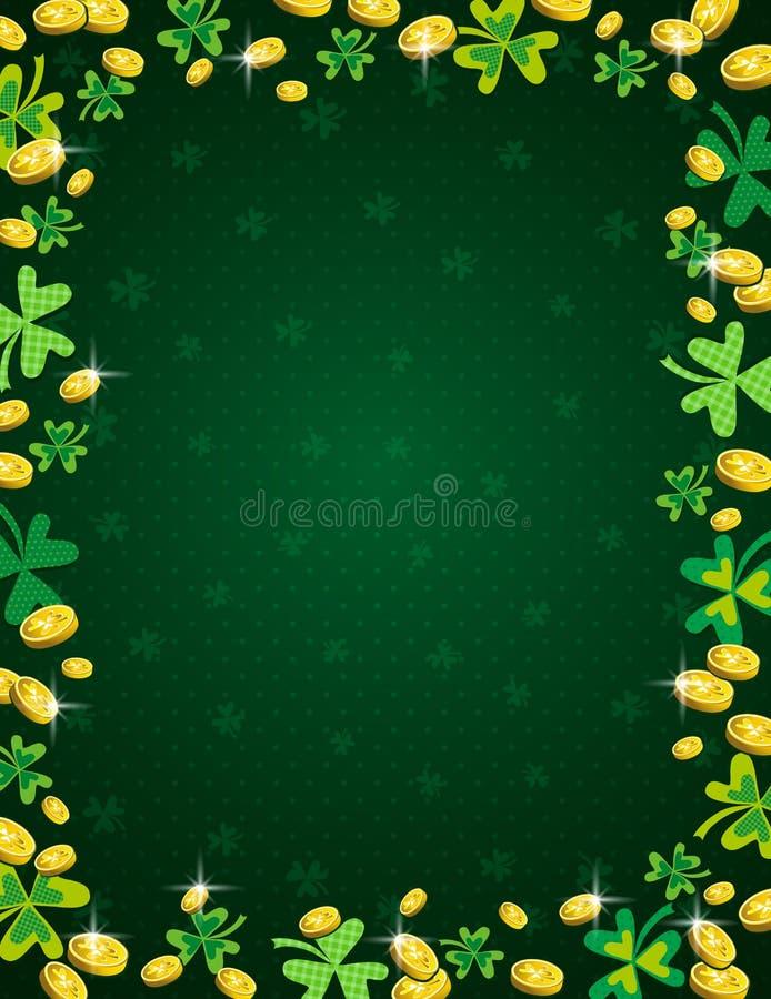 与金黄硬币和三叶草框架的绿色帕特里克斯天背景  帕特里克的天设计 在看板卡儿童圣诞节圈子附近跳舞前夕问候愉快的雪人 能使用为 库存例证