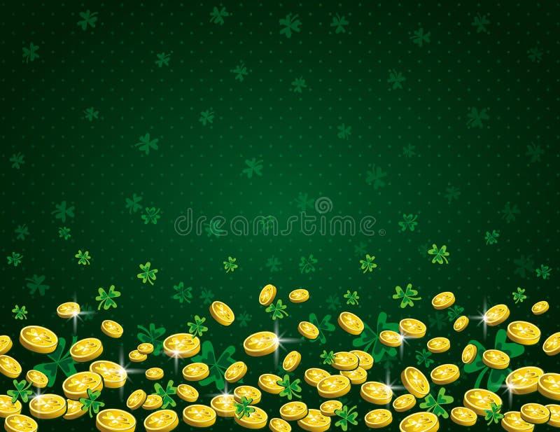 与金黄硬币和三叶草的绿色帕特里克斯天背景 帕特里克的天设计 在看板卡儿童圣诞节圈子附近跳舞前夕问候愉快的雪人 能为墙纸使用, 皇族释放例证