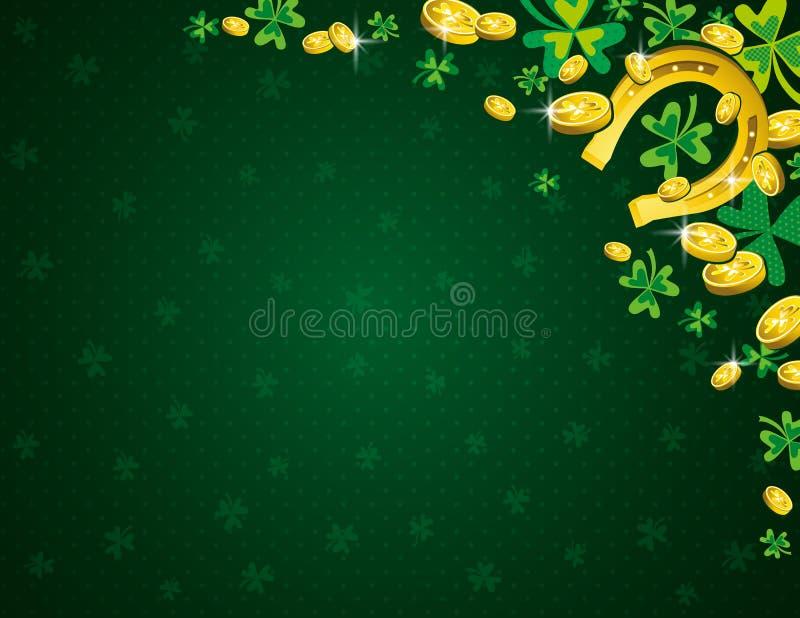 与金黄马掌硬币和三叶草的绿色帕特里克斯天背景 帕特里克的天设计 在看板卡儿童圣诞节圈子附近跳舞前夕问候愉快的雪人 能使用为 库存例证
