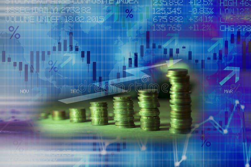 与金钱的抽象财政背景和股票市场显示或财务数据 免版税图库摄影