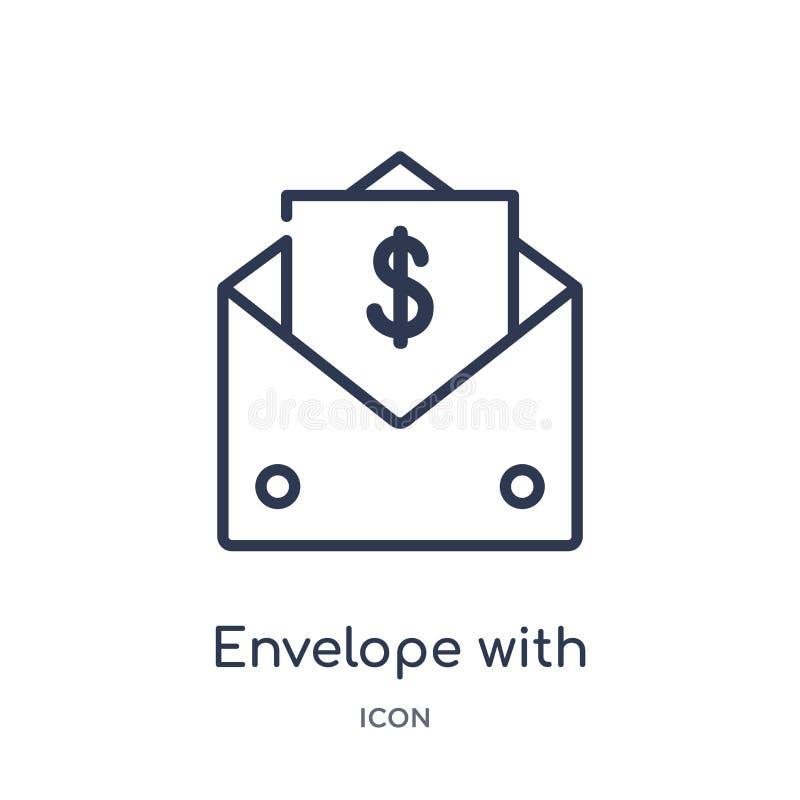 与金钱的线性信封在从企业概述汇集的象里面 与金钱的稀薄的线信封在被隔绝的象里面  库存例证