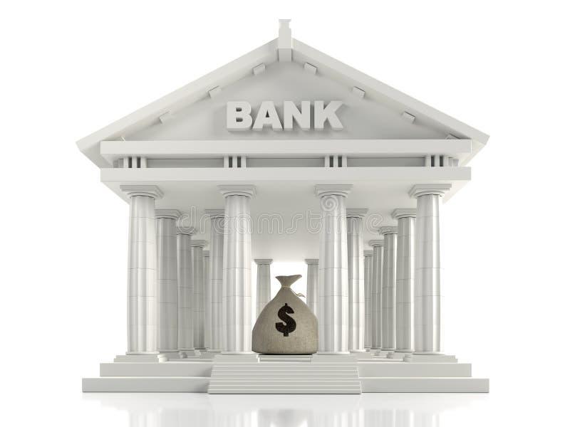 与金钱袋子的经典银行大楼 向量例证