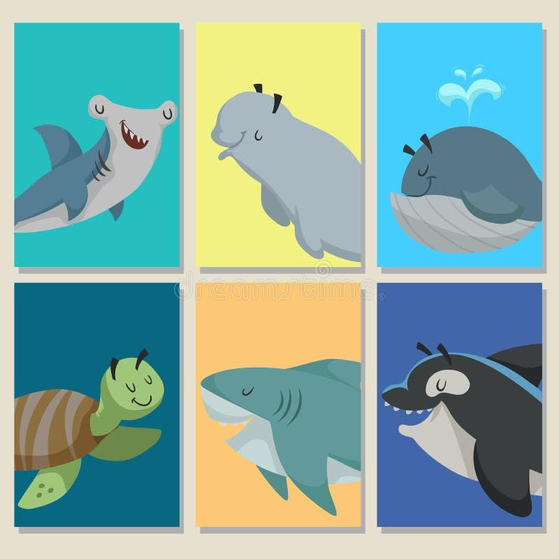 与逗人喜爱的动画片海洋动物的微型游戏卡 弦槌鱼、白海豚鲸鱼、鲸鱼、海龟、鲨鱼和虎鲸 Educatio 皇族释放例证