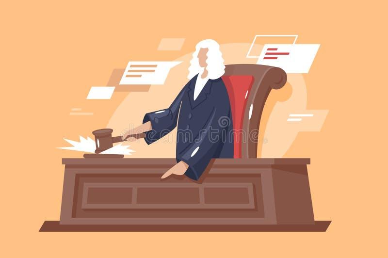 与锤子法官的平的坚强男人法院 库存例证