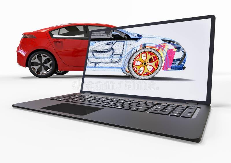 与3D软件的汽车发展 库存例证