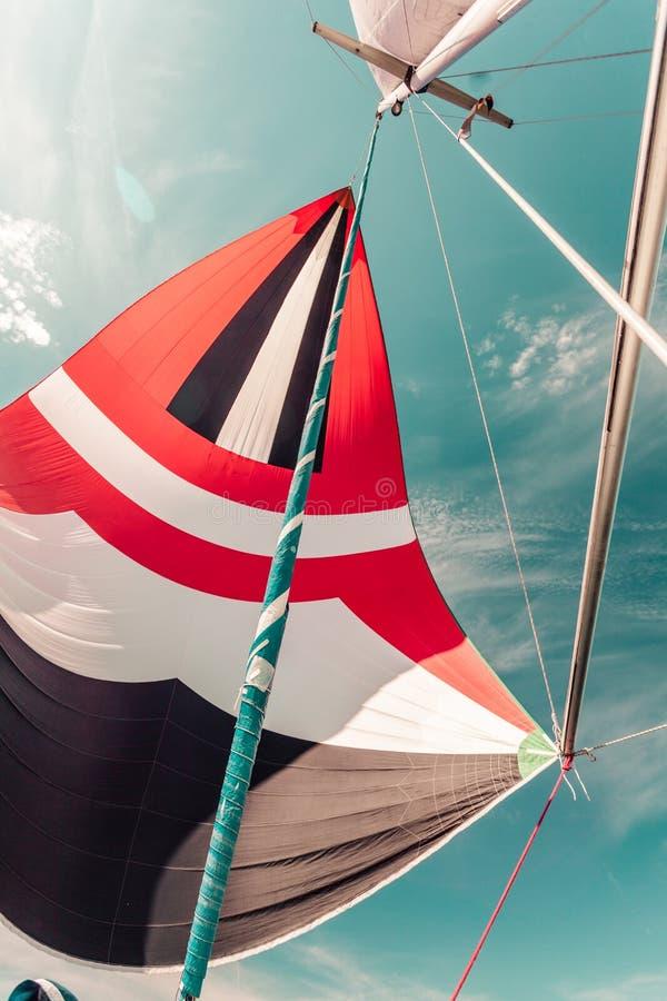 与uphaul,蓝天的大三角帆在背景中 免版税库存照片